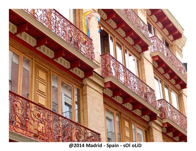 very typical ironwork balcony in Madrid. New Orleans(USA) has the same type of work in the city.