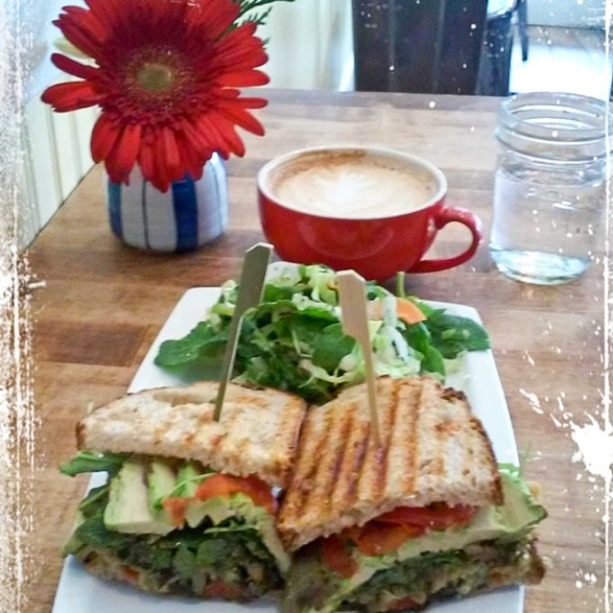 MY LOVELY BREAKFAST TODAY. AVOCADO PESTO VEGAN PANINI WITH TASTY COFFEE LATTE. THE LIFE IS GOOD !!